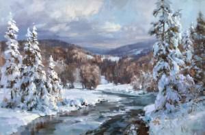 """""""First Snowfall"""", 20"""" x 30"""", Oil on Canvas"""