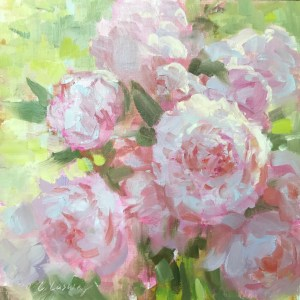 Christine Lashley Peony Pastels 10x10 Oil on Panel