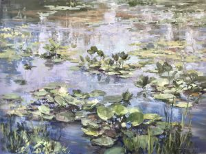 Christine Lashley Summer Shimmer Water Lilies 36x48 Oil on Canvas