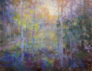 Christine Lashley Tree Shimmer 14x18 Oil on Canvas 1