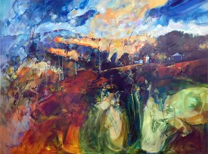 """Ken Strong, Forthcoming Deluge, 30"""" x 40"""", Oil on canvas"""