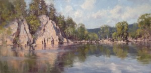 """""""Potomac Reflections"""", 24"""" x 48"""", Oil on Canvas"""