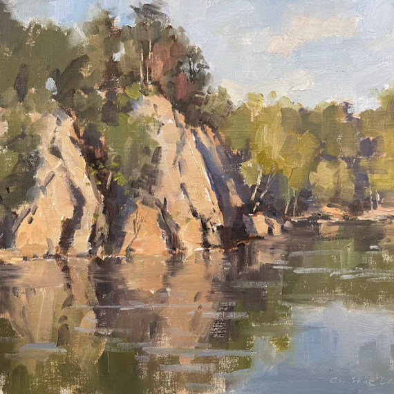 """""""Potomac Rocks At Old Anglers"""", 12"""" x 16"""", Oil on Canvas"""