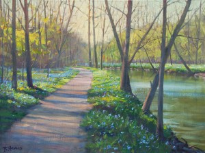 "Bradley Stevens, Bull Run Bluebells, 18"" x 24"", oil on linen"