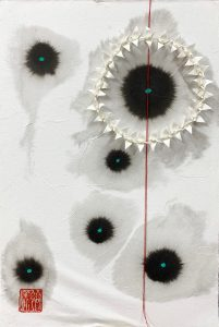 """Hiromi Ashlin, """"Sky Dance"""", Origami on Panel, 12"""" x 8"""""""