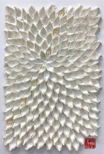 Hiromi Ashlin - Zen Pearl V, Origami on Panel, 12x9, $606 framed