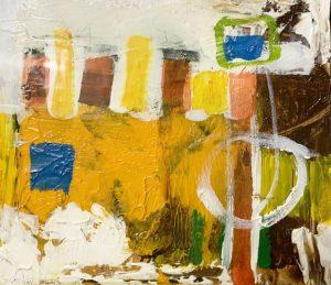 "Buck Nelligan, ""City Lights 6"", 6"" x 7"", Acrylic on Paper"