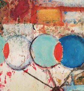 "Buck Nelligan, ""Martini Olives"", Acrylic on Paper 7"" x 7"""