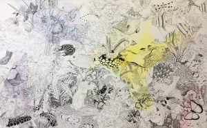 """Natalie Jackson, """"Before the Waters Parts"""", 36"""" x 48"""", Acrylic and Ink Pen on Canvas"""