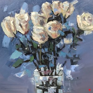 """SOLD - """"White Roses"""", Oil on Canvas, 24"""" x 24"""""""