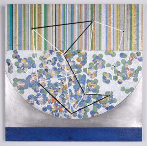 """Intertwined 'F'"", Acrylic and Wax on Honeycomb Panel, 24"" x 24"""