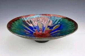 "Raku and Glass Bowl, 8"" diameter, Tag #19"