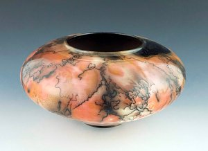 """Saggar and Horsehair Fired Vase, 5.5""""h x 11""""w, Tag #16"""