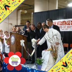 New York State Senator Tim Kennedy, Mayor Byron Brown, Fillmore District Councilman David Franczyk and Pastor of Corpus Christi Church Mariusz Dymek cut the the ribbon officially opening the 2014 Easter Season at the Broadway Market!