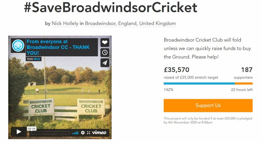 Broadwindsor Cricket Club Saved!