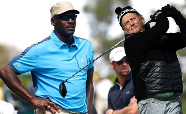 Bill Murray talks golf with Michael Jordan while filming Ghosbusters
