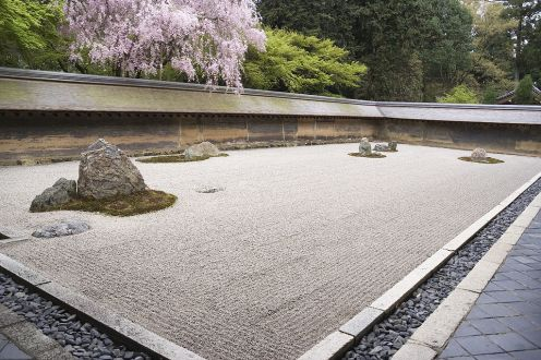 Zen rock garden, raked daily by monks.