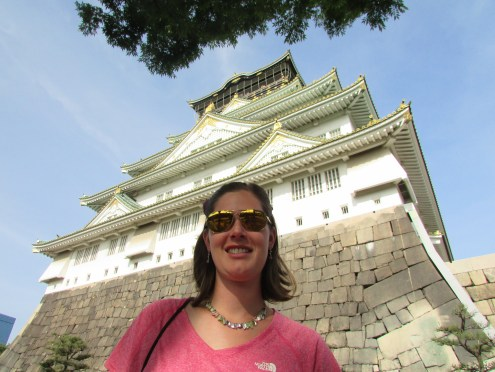 Looking up at grand Osaka Castle