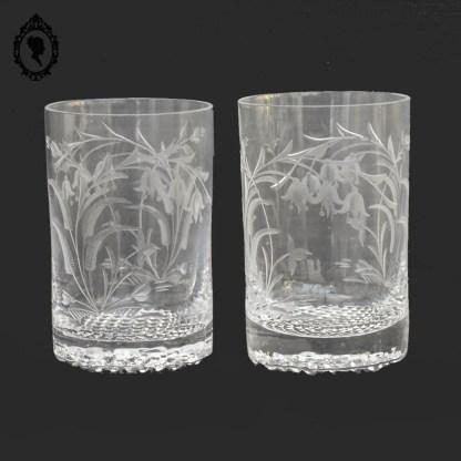 Verre, 2 verres, verre cristal, verre de mariage, verre de naissance, verre collection, verre blanc, objet de vitrine, objet de collection, verre fleuri, verre ancien,