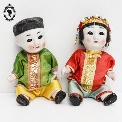 Couple de poupée, paire de poupée, poupée asiatique, couple asiatique, poupée chinoise, couple chinois, poupée japonaise, couple japonais, poupée porcelaine, tête porcelaine, poupée tête porcelaine, corps composition, poupée ancienne, poupée collection, poupée taille 6, jouet vintage, jouet ancien,