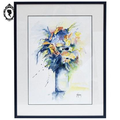 Tableau, tableau fleuri, tableau floral, peinture, peinture fleurie, tableau bleu, tableau aquarelle, peinture bleue, peinture bouquet de fleurs, peinture aquarelle, décoration bleue, décoration bucolique, tableau bucolique, peinture bucolique, aquarelle bucolique, cadre bleu, cadre moderne, cadre bouquet de fleurs, cadre fleur, fleur encadrée, mur chic, objet mural élégant, cadre moderne, idée cadeau,