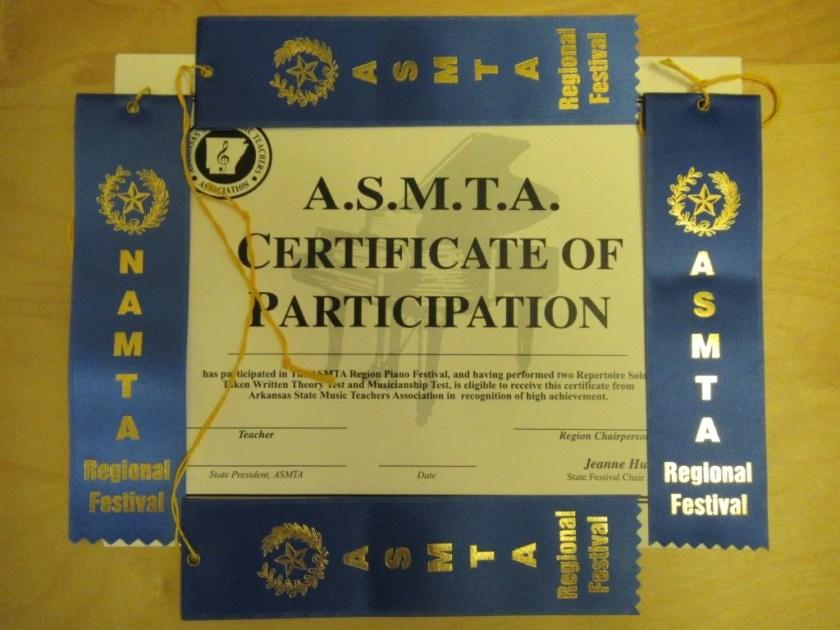 ASMTA Certificate and Ribbons