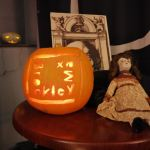 Brockley Max pumpkin carving at Frightful Yarns fundraiser