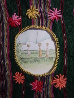 cadre textile brodé