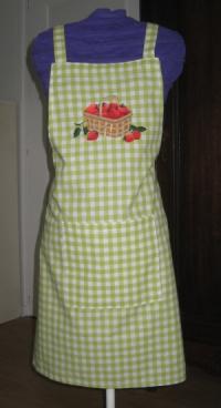 tablier vichy anis panier fraises
