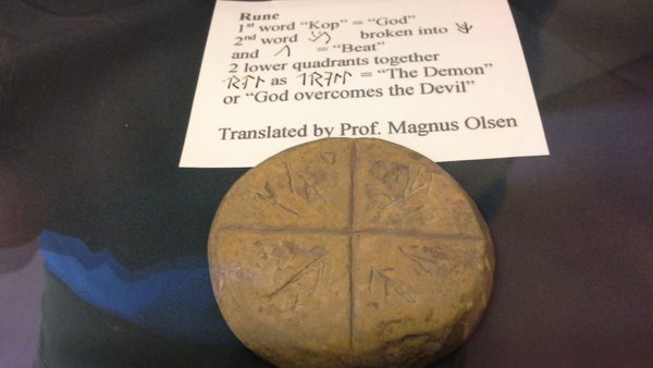 The rune inscribed stone disc (OR 1) from Stackrue Broch.