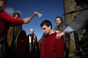 Martyrdom of St Magnus, re-enacted, April 2017, Egilsay, Orkney, for Magnus 900.