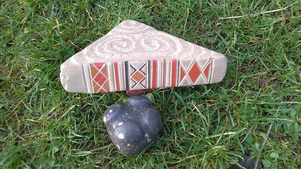 Twice Found and Brodgar Patterned Stone in colour with Skara Brae spiral. Neolithic art by Chris Gee, Orkney.