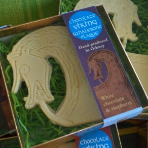 White chocolate and raspberry Viking whalebone dragonhead from Orkney, by Brodgar.