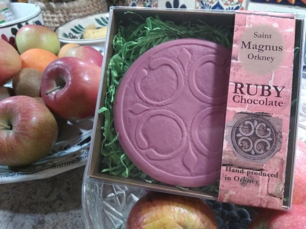 St Magnus Orkney ruby chocolate is edible archaeology, and takes its design from the magnificent Norse 12th century cathedral, St Magnus in Kirkwall, Orkney Islands.