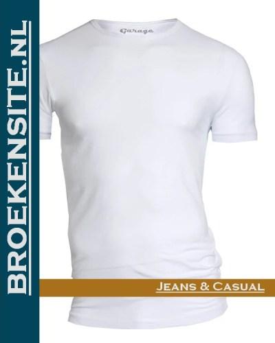 Garage T-shirt Bodyfit ronde hals wit G 0201-WT Broekensite jeans casual