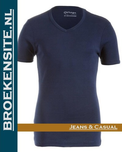 Garage Dames T-shirt Bodyfit V-hals navy G 0702-NAVY Broekensite jeans casual
