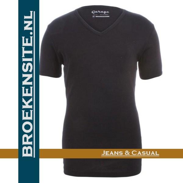 Garage Dames T-shirt Bodyfit V-hals zwart G 0702-ZW Broekensite jeans casual
