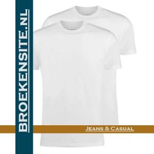 Garage T-shirt Classic Fit ronde hals wit (2-pack) dubbel Broekensite jeans casual