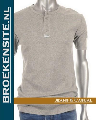 Garage T-shirt Semi Bodyfit met knoopjes grijs G 0501-GR Broekensite jeans casual