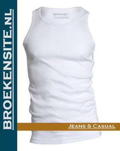 Garage Singlet Semi Bodyfit wit G 0401-WT Broekensite jeans casual