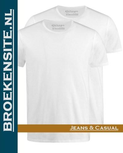 Garage T-Shirt Regular Fit ronde hals (2-pack) wit G 0103-WT Broekensite jeans casual
