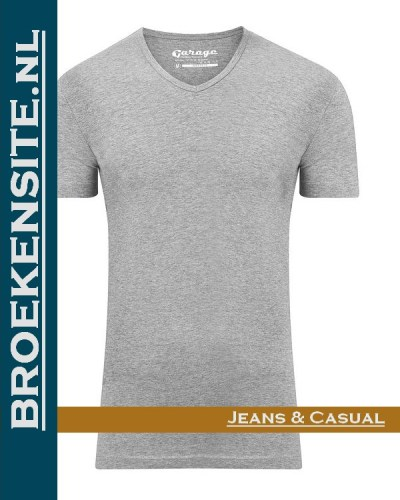 Garage T-shirt Bodyfit V-hals grijs G 0202-GR Broekensite jeans casual