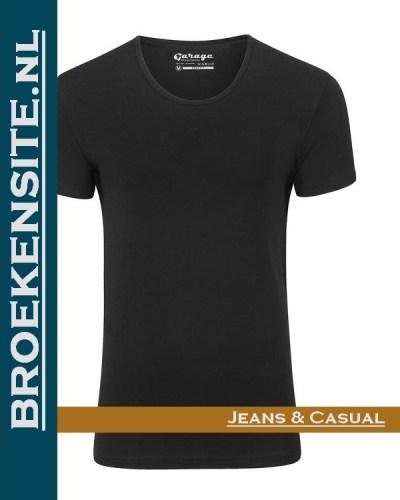 Garage T-shirt Bodyfit diepe ronde hals zwart G 0205-ZW Broekensite jeans casual
