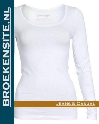 Garage dames T-shirt Lange Mouw R-hals wit G 0704-WT Broekensite jeans casual