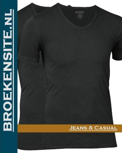 Bamboo t-shirt JBS zwart v-hals (2-pack) Broekensite