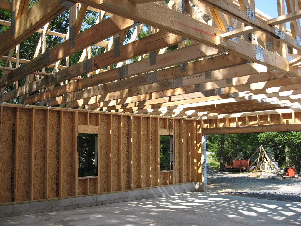 Partridge Bay Garage During Construction Interior Framing