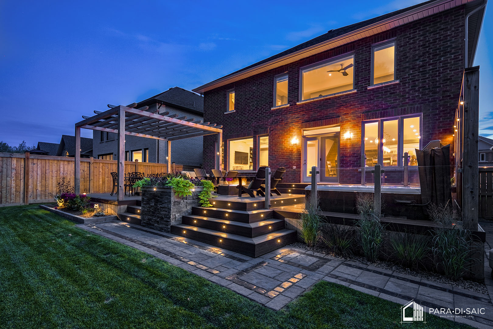 Courtice Deck - Front Right View at Dusk