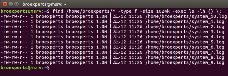 Find files with particular size in linux