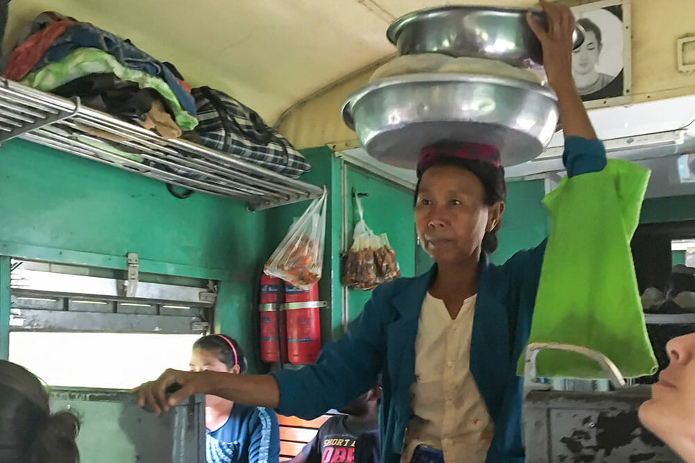 Railway food vendor in Myanmar