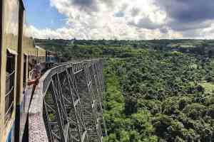 Railway crossing at Gokteik Viaduct, Myanmar Burma